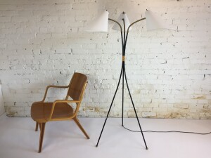 Outstanding 1950's Atomic 3 headed / tripod floor lamp - all three heads are adjustable /directional and are custom made - newly rewired(SOLD)
