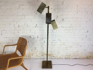 Incredible MCM brass Koch & Lowy cubist 3 headed floor lamp - each head is adjustable /directional - newly rewired - good vintage condition (SOLD)