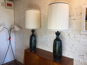"""Pair of Mid-century Modern ceramic lamps with a stunning blue & green glaze - they come with their original shades -excellent vintage condition - stands 43""""H -$600/Pair"""