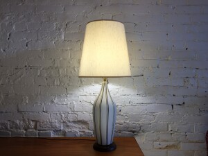 """Fabulous Mid-century Modern textured ceramic lamp with dark blue and yellow stripes - this beauty stands 32""""H -"""