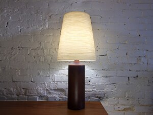 """Gorgeous Mid-century Modern ceramic lamp by husband and wife duo Lotte & Gunnar Bostlund - incredible earthy brown glaze - stands - 33""""H - $450"""