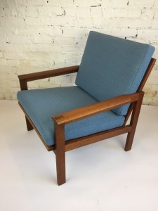 """Outstanding Mid-century Modern teak """"capella"""" lounge chair designed by Illum Wikkelso for Niels Eilersen - Design Year 1959 - clean lines with beautiful joints in the arms - Made in Denmark - all new quality straps by Pirelli and new foam and lovely smoky blue quality durable fabric by Maharam- $1575"""