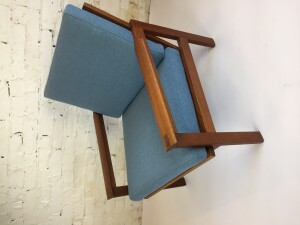 "Outstanding Mid-century Modern teak ""capella"" lounge chair designed by Illum Wikkelso for Niels Eilersen - Design Year 1959 - clean lines with beautiful joints in the arms - Made in Denmark - all new quality straps by Pirelli and new foam and lovely smoky blue quality durable fabric by Maharam- $1575"