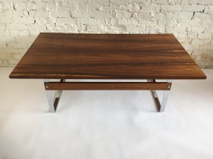Handsome Vintage Rosewood and metal large coffee table newly refinished to perfection - the grain is to die for :) (SOLD)