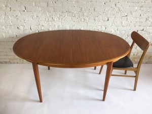 "Gorgeous MId-century Modern Oval teak dining table produced by Danish Company Gudme - Denmark - excellent quality craftsmanhip - this beauty comes with 2 leaves and is in very nice vintage conditon - 59""L x 40""d X 28.5""H fully extended - 97.5""L - seats up to 8 :) - (SOLD)"