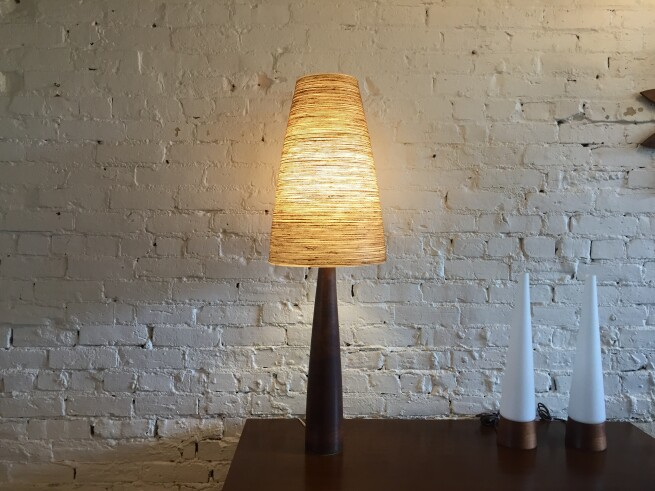 Exquisite extremely RARE Mid-century Modern very tall tapered ceramic lamp by husband and wife duo Lotte & Gunnar Bostlund - comes with the original also rare tapered tall fiberglass shade - SOLD