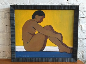 """Original Painting by Edythe Hembroff-Schleicher - Sitting Nude 1969 - oil on canvas - seen book - The Life And Art Of Edythe Hembroff-Schleicher - The Unheralded Artists of BC by Christina Johnson-Dean -23"""" x 27"""" (SOLD)"""