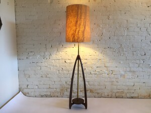 Spectacular Mid-century Modern walnut and brass floor lamp with a fabulous original vintage burlap shade - would make a lovely addition to you MCM inspired home - this beauty stands -