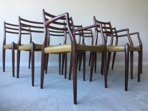 Danish 1960's Set x 8 Brazilian Rosewood Dining Chairs. Designed by Niels Otto Møller, Produced by J.L. Møllers Møbelfabrik - 2 arm chairs and 6 side chairs - definitely the most sculptural design this company did - absolutely stunning - original leather - some stains on the leather, but overall very good vintage condition -(SOLD)