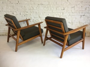 """Rare"" Pair of Hans J. Wegner for Getama -lounge chairs - Made in Denmark - the backs adjust to suit your lounging sweet spot - very well made - 28""W x 27""BH x 14.5""SH x overall depth of 28""(SOLD)"