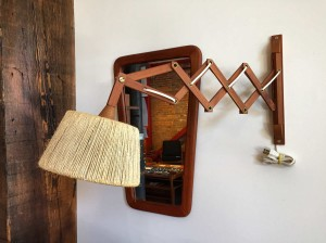 Marvelous Vintage teak scissor wall light with it's original rope shade - perfect next to your bed and/or beside your favorite living room chair or perhaps over your desk area - $250