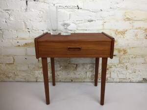 Handsome 1960's teak bedside table with sleek doveteailed drawer... this piece is finished on all sides so can be used anywhere no just against a wall - we have also refinshed this piece top to bottom :) - (SOLD)