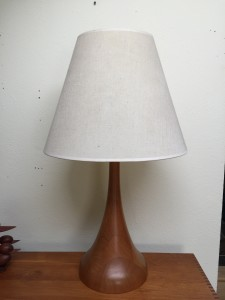 "Handsome Mid-century Modern solid teak bell shape table lamp - very unique - very impressive - this beauty stands - 31""H - $375"