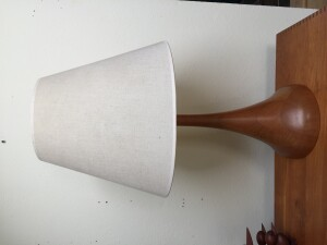"Handsome Mid-century Modern solid teak bell shape table lamp - very unique - very impressive - this beauty stands - 31""H - $300"