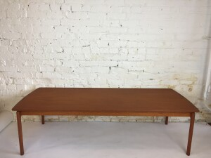 """Incredible large floating top teak coffee table Designed by Ole Wanscher for Poul Jeppesen - Made in Denmark - circa 1960s - newly refinished - this beauty measures - 62""""L x 25.5""""D x 17.5""""H (SOLD)"""