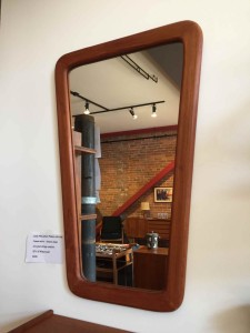 Spectacularly unique 1960's solid teak framed mirror - perfect for an entry way - hall way - bathroom - bedroom - really this beauty would look fantastic anywhere - $225