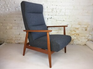 Incredible 1960's rocker /recliner teak arm chair - completely restored - refinished solid teak chair frame , new foam and wool fabric by Kvadrat (SOLD)