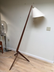 Outstanding Custom 3 legged boomerang floor lamp - made from a 1960's custom solid walnut dining table - comes with a custom shade - (SOLD)