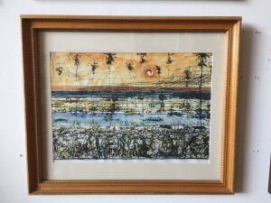 Herbert Siebner, a member of the Limners, a prominent group of Victoria-based artists, was born in 1925 to a cultured family in the city of Stettin, Germany - Santa Barbara - artist proof lithograph - $350