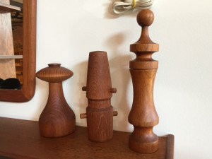 Oh my:) some amazing Mid-century modern teak peppermills /salt - Designed by Jens Quistgaard for Dansk - the tall one is made by Lauritz Longborg - Denmark - Form and Function - LOVE - $80 $150 each