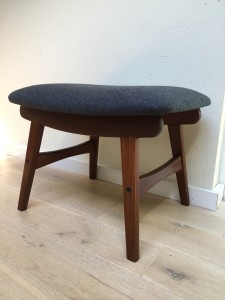 """Handsome Mid-century Modern foot stool - newly upholstered in a gorgeous charcoal grey wool - measures - 20""""L x 13.5""""D x 14""""H - $300"""