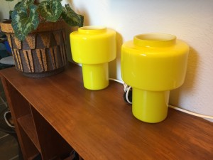 Sublime Mid-century Modern glass table lamps designed by Uno and Östen Kristiansson for Luxus - Made in Sweden - perfect bedside lamps or anywhere you want or need a pop of color - one has a small chip (top rim) othewise excellent condition - $600/Pair (SOLD)