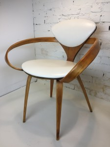 """Iconic incredible """"Pretzel"""" Chairs by American Designer Norman Cherner for Plycraft, USA, 1958 - comprised of bentwood in Beech and white naugahyde - this chair comes with a long fascinating history - -(SOLD)"""