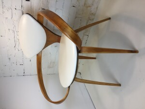"Iconic incredible ""Pretzel"" Chairs by American Designer Norman Cherner for Plycraft, USA, 1958 - comprised of bentwood in Beech and white naugahyde - this chair comes with a long fascinating history - -(SOLD)"