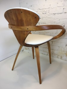 """Iconic incredible """"Pretzel"""" Chairs by American Designer Norman Cherner for Plycraft, USA, 1958 - comprised of bentwood in Beech and white naugahyde - this chair comes with a long fascinating history - back side shot"""