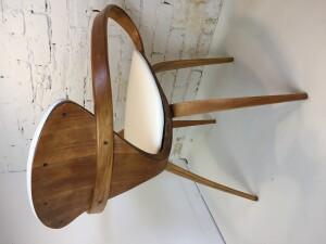 "Iconic incredible ""Pretzel"" Chairs by American Designer Norman Cherner for Plycraft, USA, 1958 - comprised of bentwood in Beech and white naugahyde - this chair comes with a long fascinating history - back side shot"