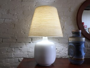 Spectacular 1960's ceramic lamp by husband and wife duo Lotte and Gunnar Bostlund - it comes with the original fiberglass spuns shade - a collector's must have - (SOLD)