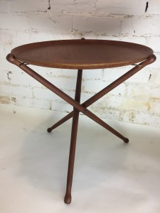 """Fantastic 1950's teak ply folding tray table - removable tray top over solid tripod base with leather straps, stamped ARY Fanerprodukter / Nybro / Made in Sweden 17"""" D x 17.5""""H - $250"""