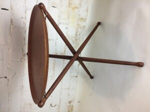 "Fantastic 1950's teak ply folding tray table - removable tray top over solid tripod base with leather straps, stamped ARY Fanerprodukter / Nybro / Made in Sweden 17"" D x 17.5""H - $250"