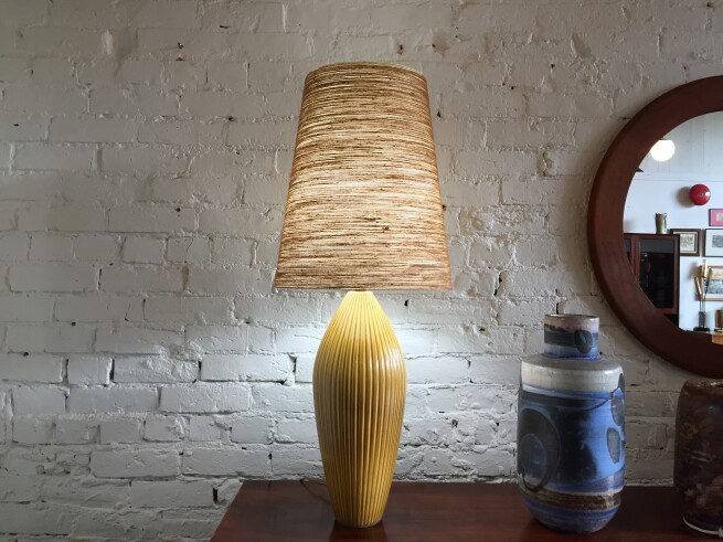 Outstanding 1950's/early 60's 's incised ceramic lamp by husband and wife duo Lotte and Gunnar Bostlund - it comes with the original fiberglass spuns shade - a collector's must have as it is a rare - no longer produced model - (SOLD)