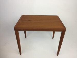 Handsome 1960's teak end table - lovely fingerjointed corners where the top meets the legs - perfect for beside your lounger or sofa - newly refinished - $350