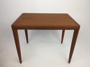 Handsome 1960's teak end table - lovely fingerjointed corners where the top meets the legs - perfect for beside your lounger or sofa - newly refinished - $400