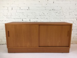 "Incredible Mid-century Modern teak sideboard by Hundevad & Co. - Made in Denmark - this fabulous piece boasts - high quality craftsmanship - gorgeous contrasting beech wood interior - drawer on the inside left, adjustable shelves on both sides - NO particle board - :) - perfect also for small spaces - 54.5""L x 17""D x 26.5""H - (SOLD)"