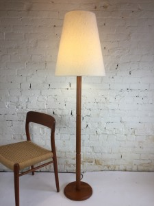 "Handsome Mid-century Modern teak floor lamp - comes with it's wonderful original vintage cone shade - it stands -""H - $ 300"