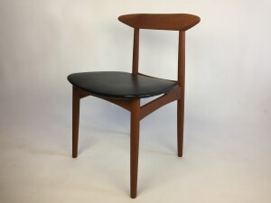 Handsome 1950s teak dining chair with it's original black vinyl seat - newly re-finished solid teak frame -