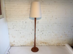 Gorgeous Classic Mid-century Modern teak floor lamp - comes with a new custom Italian linen shade - gives off an incredible glow and perfect for beside your favorite reading chair - stands - $450