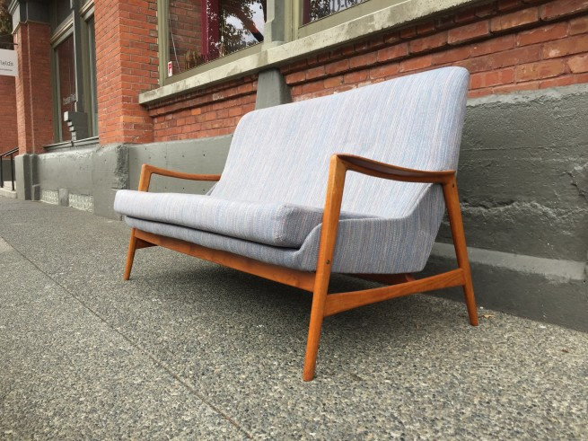 "Here is an incredibly sexy 1950's /60's Scandinavian high back sofa Designed by A. Relling & R. Relling- for Dokka Mobler - Made in Norway - a fantastic size for small spaces /micro living - 64""L x 31""D x 18""SH x 33.5""BH - $1675"