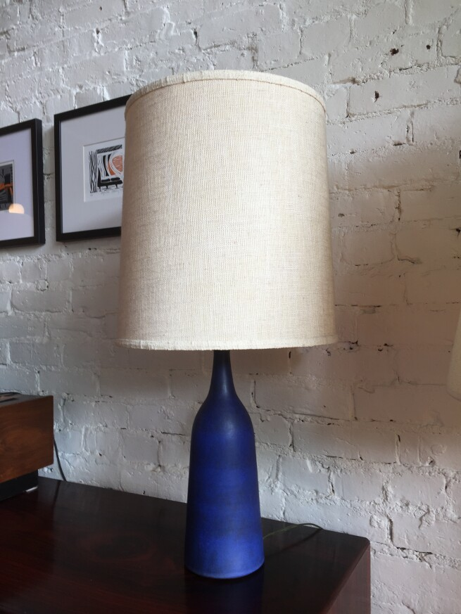 """Gorgeous Vintage ceramic lamp by local BC Potters Jan & Helga Grove in one of their most exquisite and iconic blue glazes - 29.5"""" - $500"""
