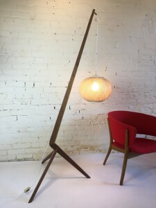 Exceptional and super unique solid walnut boomerang floor lamp custom- one of a kind made floor lamp comprised of solid walnut ( reclaimed from a 1960's dining table, base with a fantastic vintage orb like shade - it stands over 6 feet tall and is a statement piece that shows your individuality :) - $975