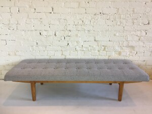 "A Perfect combination of custom made and reclaimed piece from the 1950's - this bench has a gorgeous button tufted seat done in a quality light grey wool by Danish company Kvadrat, it sits on a 1950's Borge Mogensen solid oak base - WOW - 5 ft x 21""D x 14""H - $775"