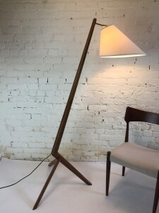 Spectacular Custom made boomerang tripod floor lamp made with reclaimed 1960's solid walnut dining table top :) all new electrical and new custom windblown shade - (SOLD)