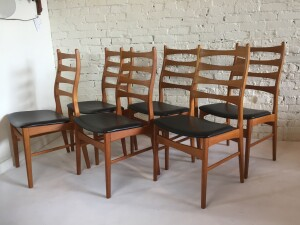 Gorgeous Set of 6 high back teak dining chairs with their original black vinyl seats - produced by Danish company Viborg Stolefabrik - very good vintage condition - $1200