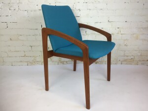 Magnificent 1950's Kai Kristiansen arm chair - Produced by K.S. Mobler - Made in Denmark - newly upholstered in a spectacular turquoise blue :) - $600 ( one available )(SOLD)