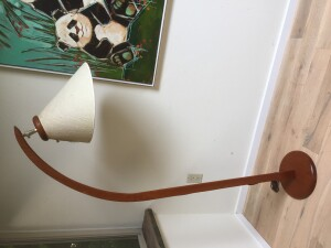 Fantastic Mid-century Modern teak arc floor lamp with the original shade - newly refinished wood $400