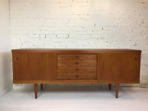 "Gorgeous Scandinavian Mid-century teak sideboard produced by Bramin - Made in Denmark - newly refinished inside and out - incredible quality craftsmanship - this beauty measures 78.5""L x 17.5""D x 31""H - $2000"