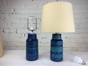 Absolutely stunning Mid-century Modern Ceramic lamps by Lyskaer Belysning - Denmark - done in a gorgeous dreamy blue and green glaze - come with original shades -(SOLD)